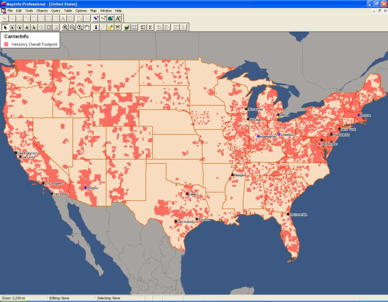 Telecommunications Maps And Data SGSI - Map Of Bell Telephone Coverage In The Us